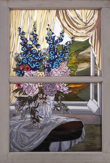 Peonies In The Sun - Sold Glass Art by Chris Heisinger