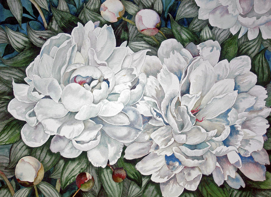 Flowers Painting - Peonies Love Ants by Helen Klebesadel