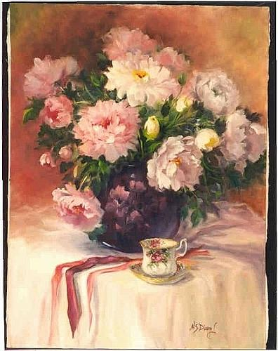 Flowers Painting - Peonies N Tea by Naomi Dixon