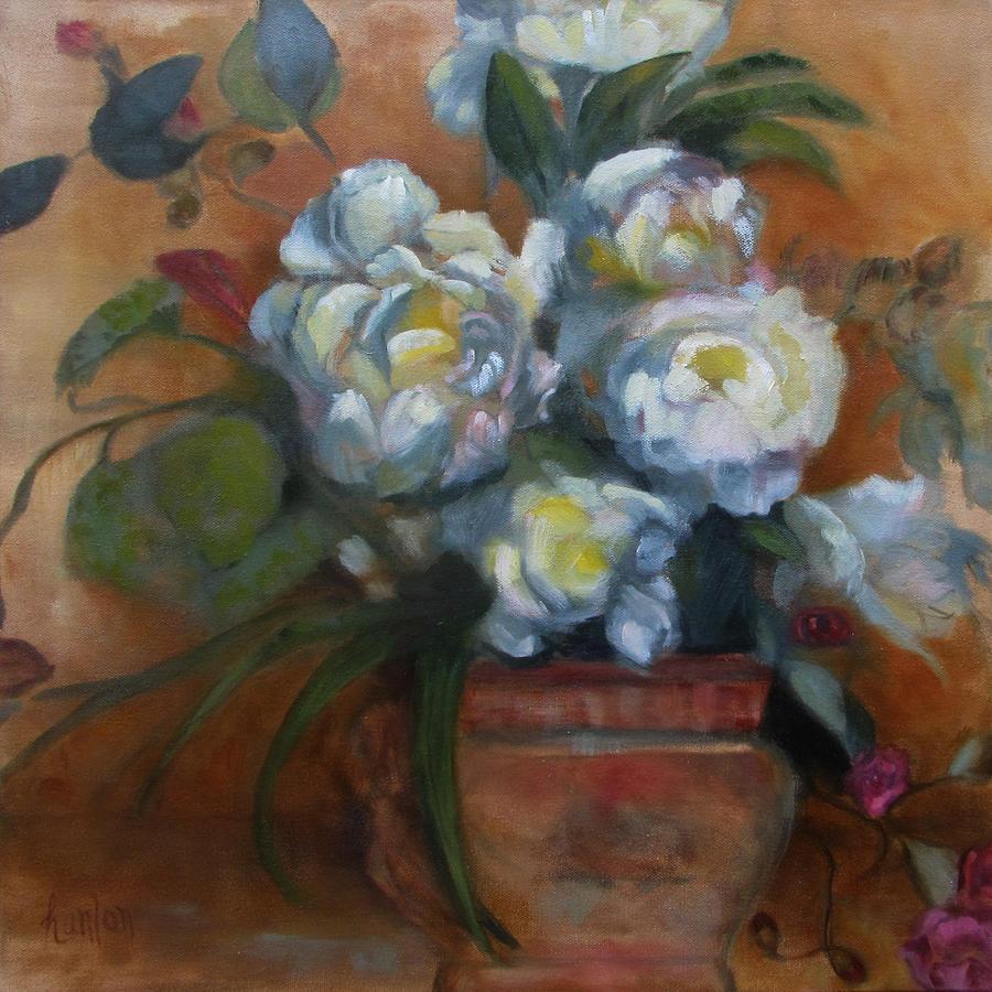 Peonies Painting - Peonies by Susan Hanlon