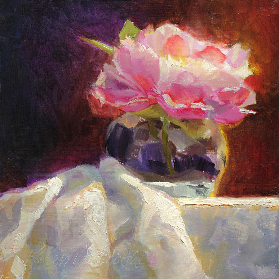 Flower Painting - Peony Glow - Square Still Life by Karen Whitworth
