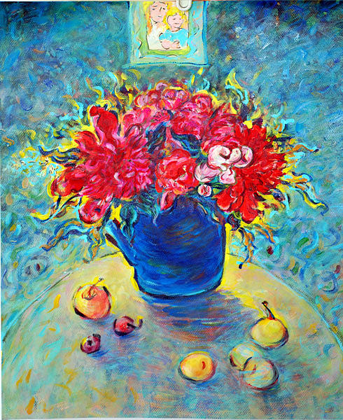Floral Paintings In Impressionism Painting - Peony In Blue Teakettle by Jianfen Wells