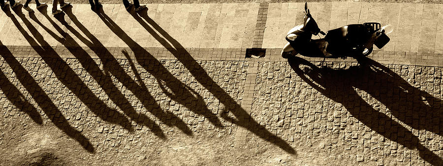 People And Motorcycles Shadows Photograph by Okeyphotos