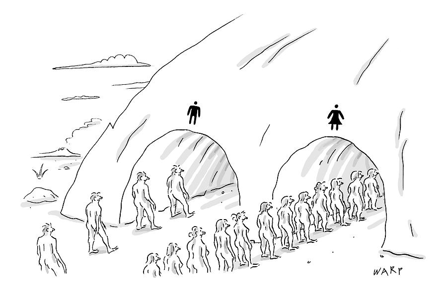 People Are In Line At Two Tunnels Going Drawing by Kim Warp