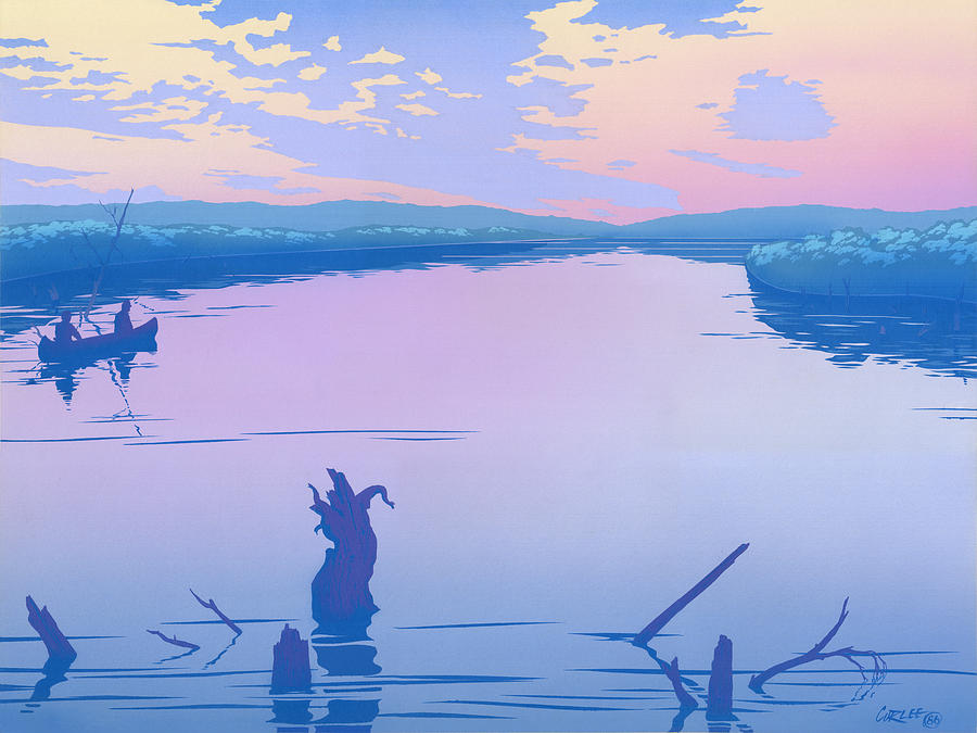 Abstract Painting - abstract people Canoeing river sunset landscape 1980s pop art nouveau retro stylized painting print by Walt Curlee