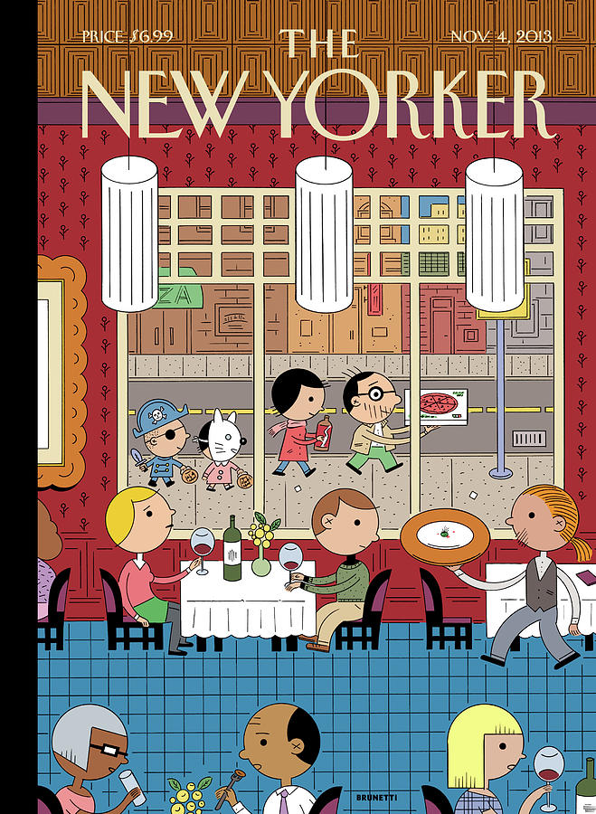 People Enjoying Dinner In The City Painting by Ivan Brunetti