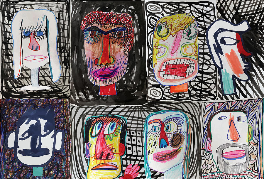 People faces on patterned background Drawing by Beastfromeast