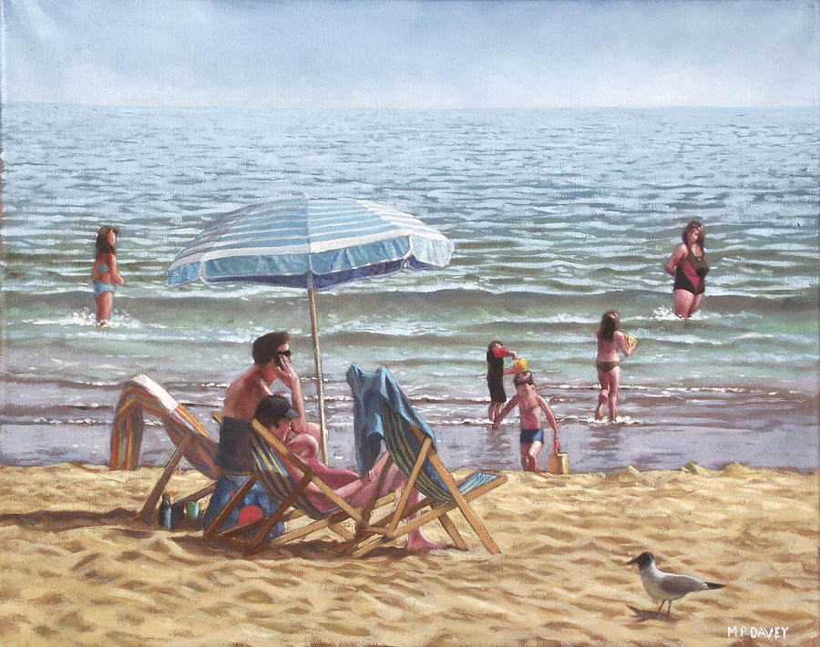 Bournemouth Painting - People On Bournemouth Beach Parasol by Martin Davey