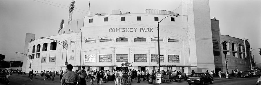 Color Image Photograph - People Outside A Baseball Park, Old by Panoramic Images