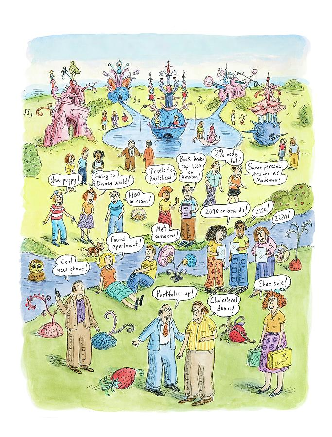 People Share Good News Around A Garden Drawing by Roz Chast