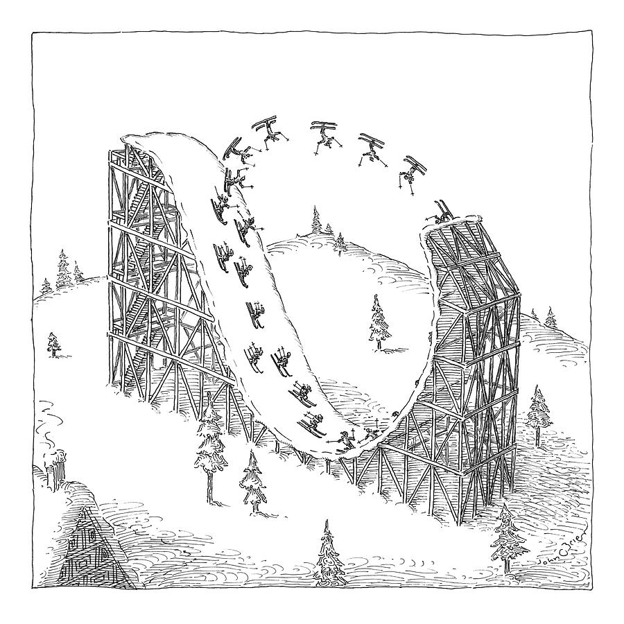 People Ski On A Circular Ski Ramp That Resembles Drawing by John OBrien