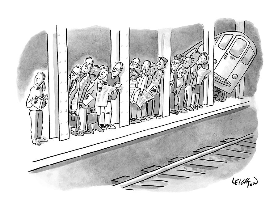 People Waiting For A Subway Peek Onto The Tracks Drawing by Robert Leighton