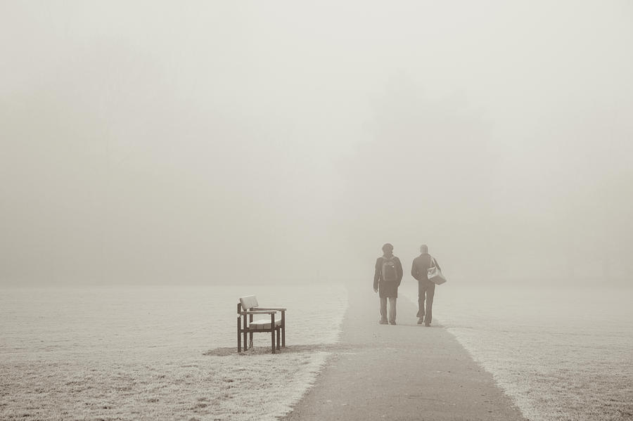 People Walking On A Misty Morning Photograph by Elaine W Zhao