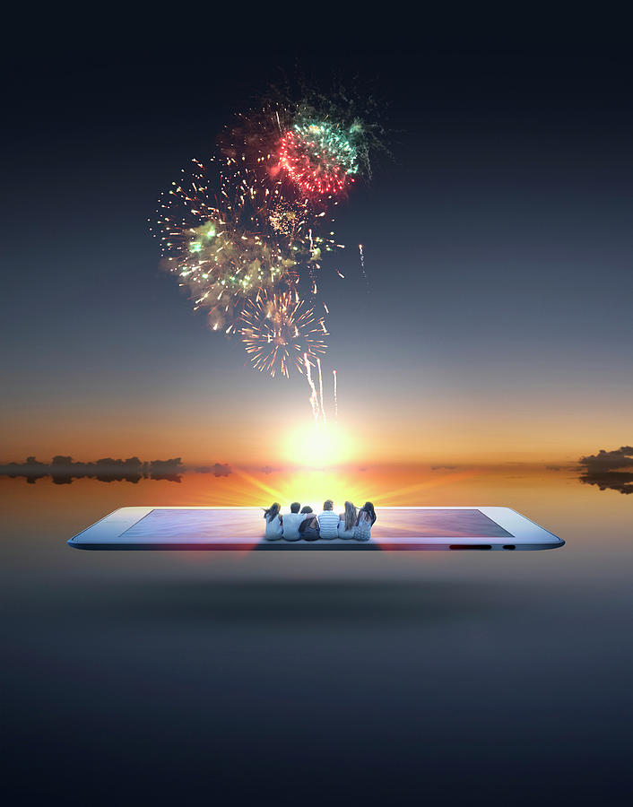People Watching Fireworks Erupt From Photograph by Colin Anderson Productions Pty Ltd