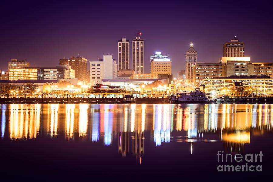 America Photograph - Peoria Illinois At Night Downtown Skyline by Paul Velgos