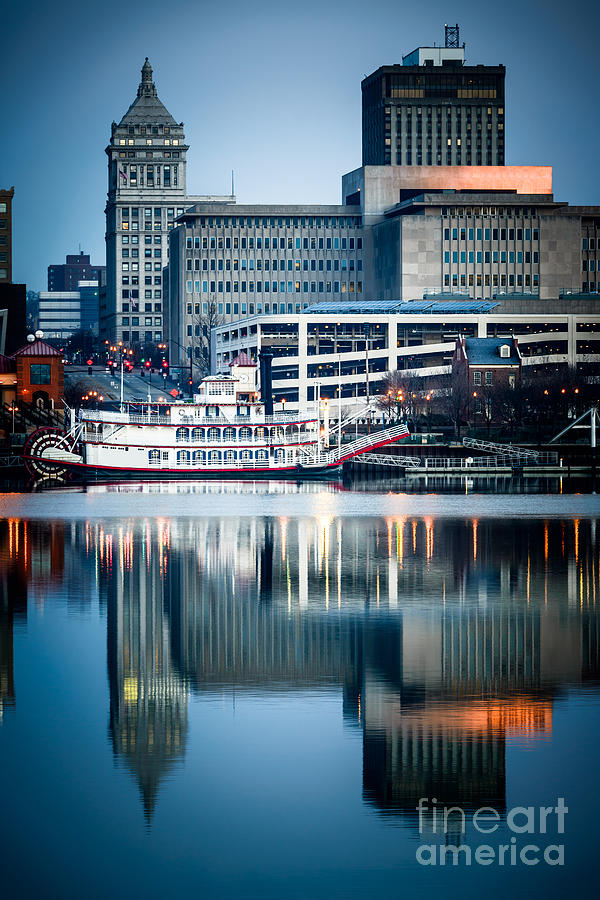 America Photograph - Peoria Illinois Cityscape And Riverboat by Paul Velgos