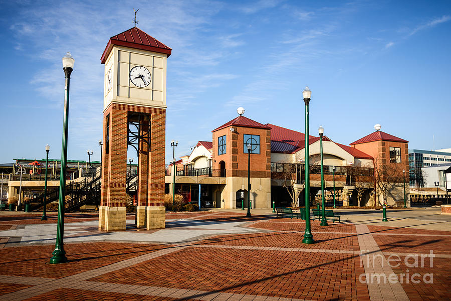 America Photograph - Peoria Illinois Riverfront Businesses And Clock Tower by Paul Velgos