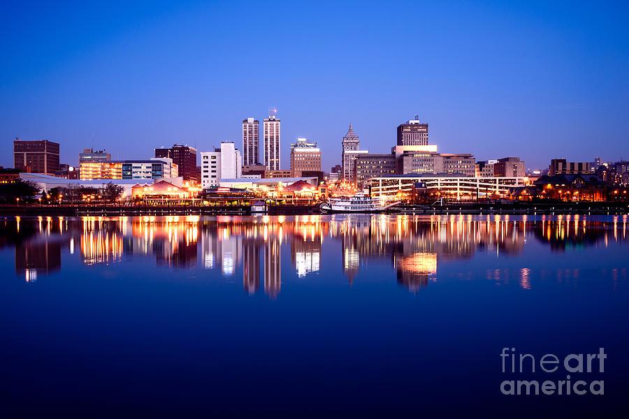 America Photograph - Peoria Illinois Skyline At Night by Paul Velgos