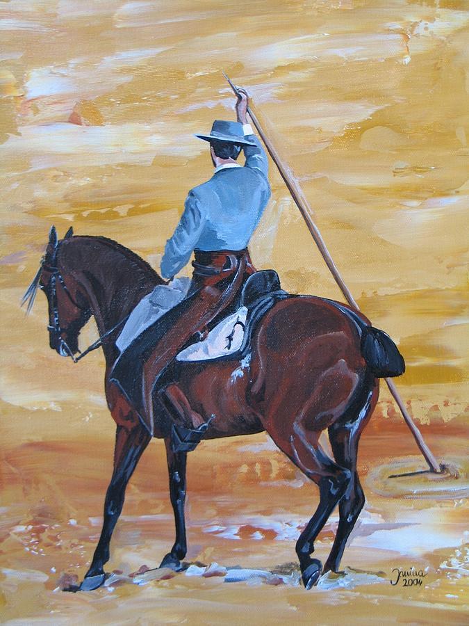 Horse Original Painting Painting - Pepe Con Garrocha by Janina  Suuronen