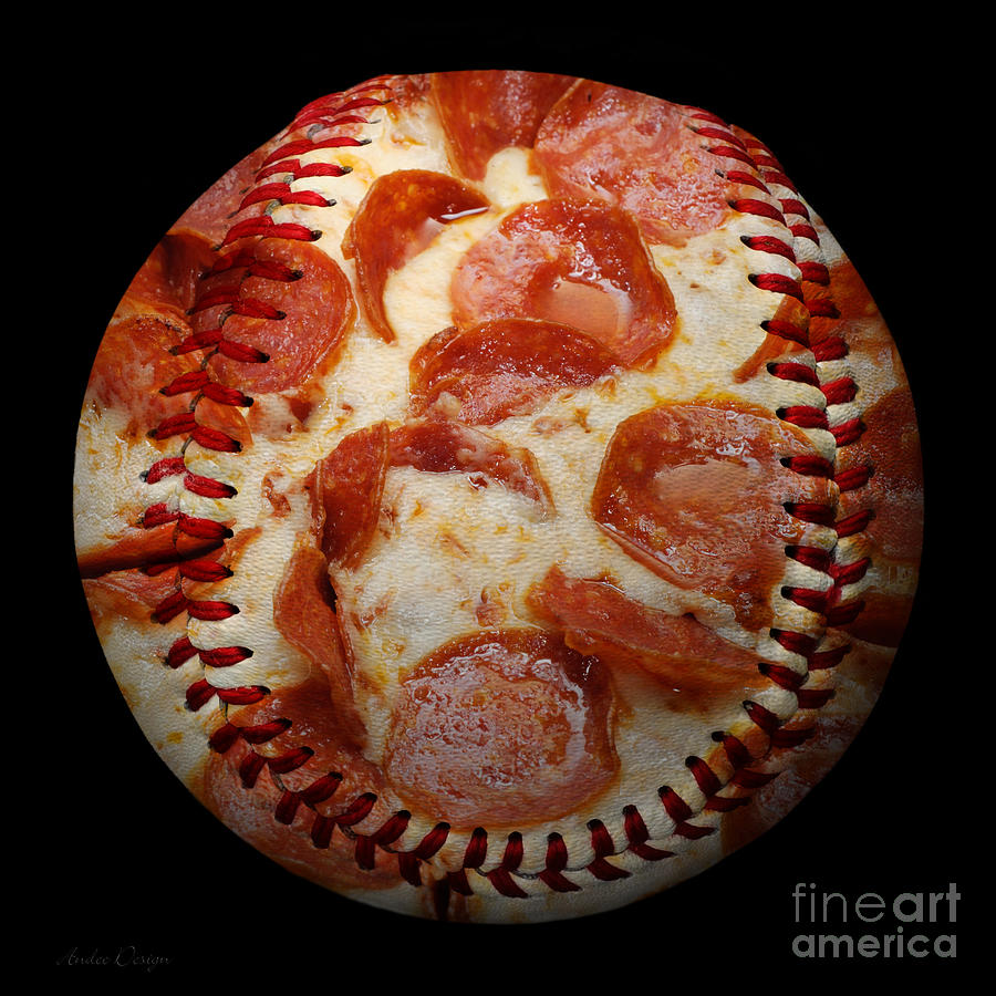 Pizzeria Photograph - Pepperoni Pizza Baseball Square by Andee Design