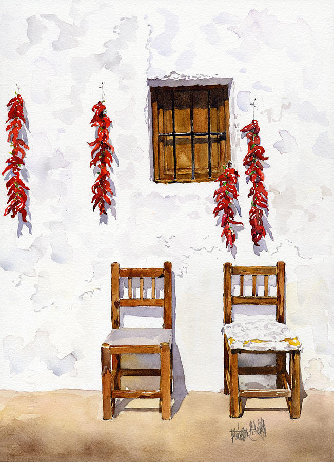Cottage Painting - Peppers And Chairs by Margaret Merry