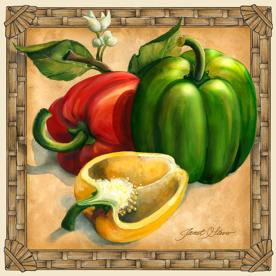 Peppers Painting By Janet Stever