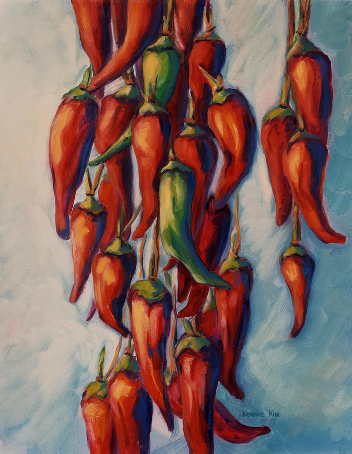 Chili Painting - Peppers by Konnie Kim