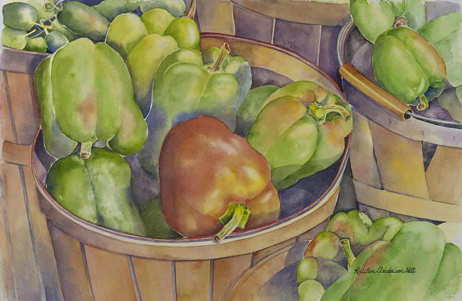 Food Painting - Peppers by Kristen Anderson Hill