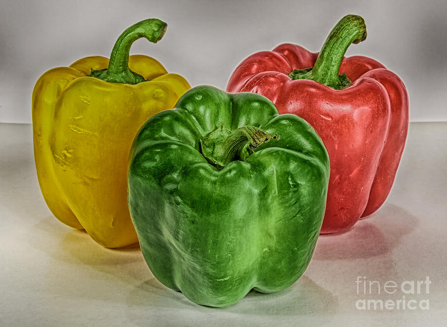Macro Photograph - Peppers Together Hdr by Mitch Johanson