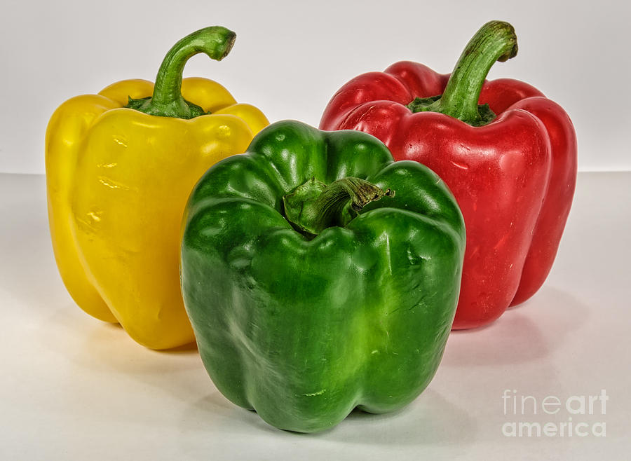 Macro Photograph - Peppers Together by Mitch Johanson