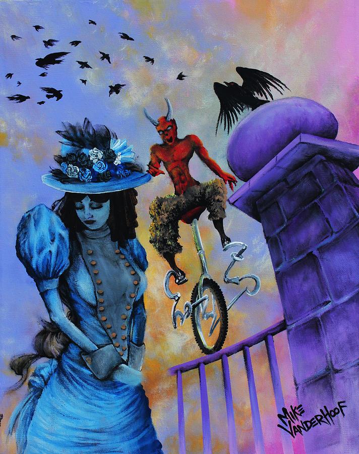 Horror Painting - Perched Balancing Regret by Mike Vanderhoof