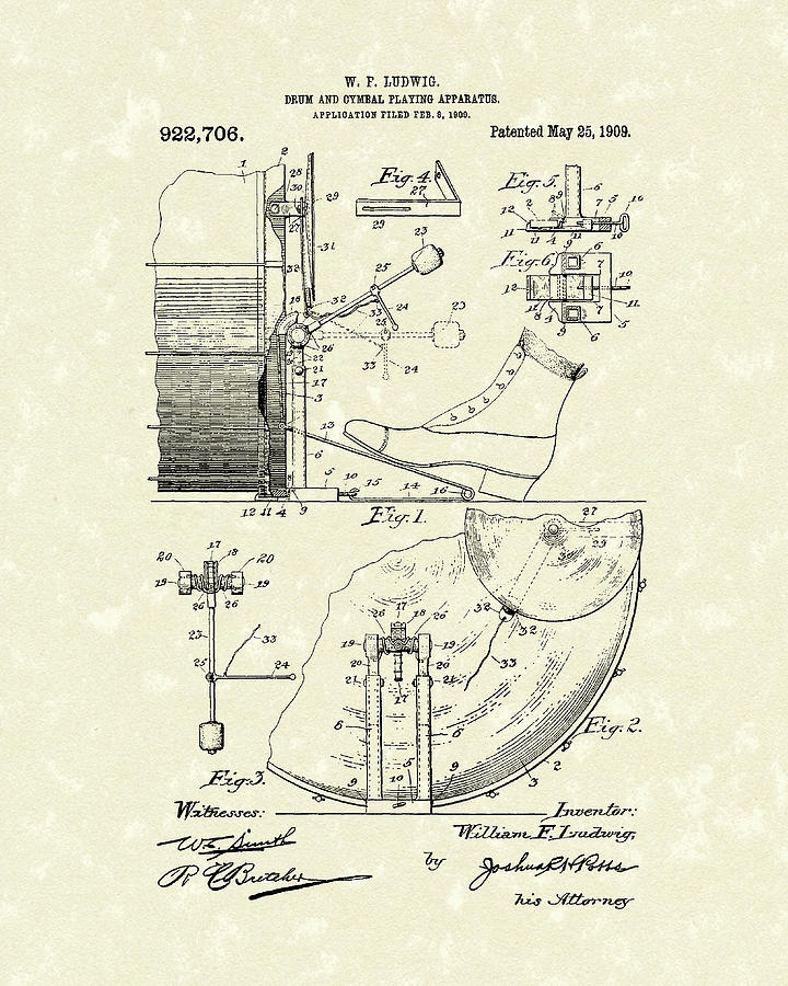 Percussion System 1909 Patent Art by Prior Art Design