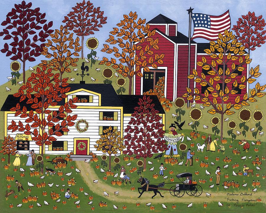 Autumn Painting - Percys Pumpkin Patch by Medana Gabbard