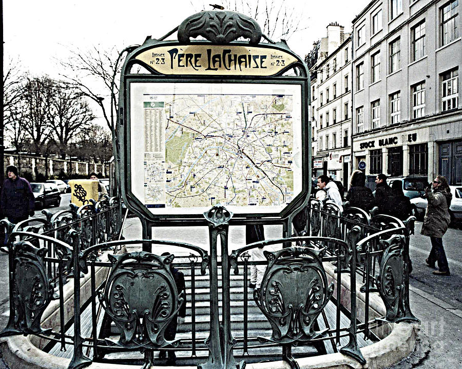 Paris Pere Lachaise Metro Station Map And Pere Lachaise Art Nouveau ...
