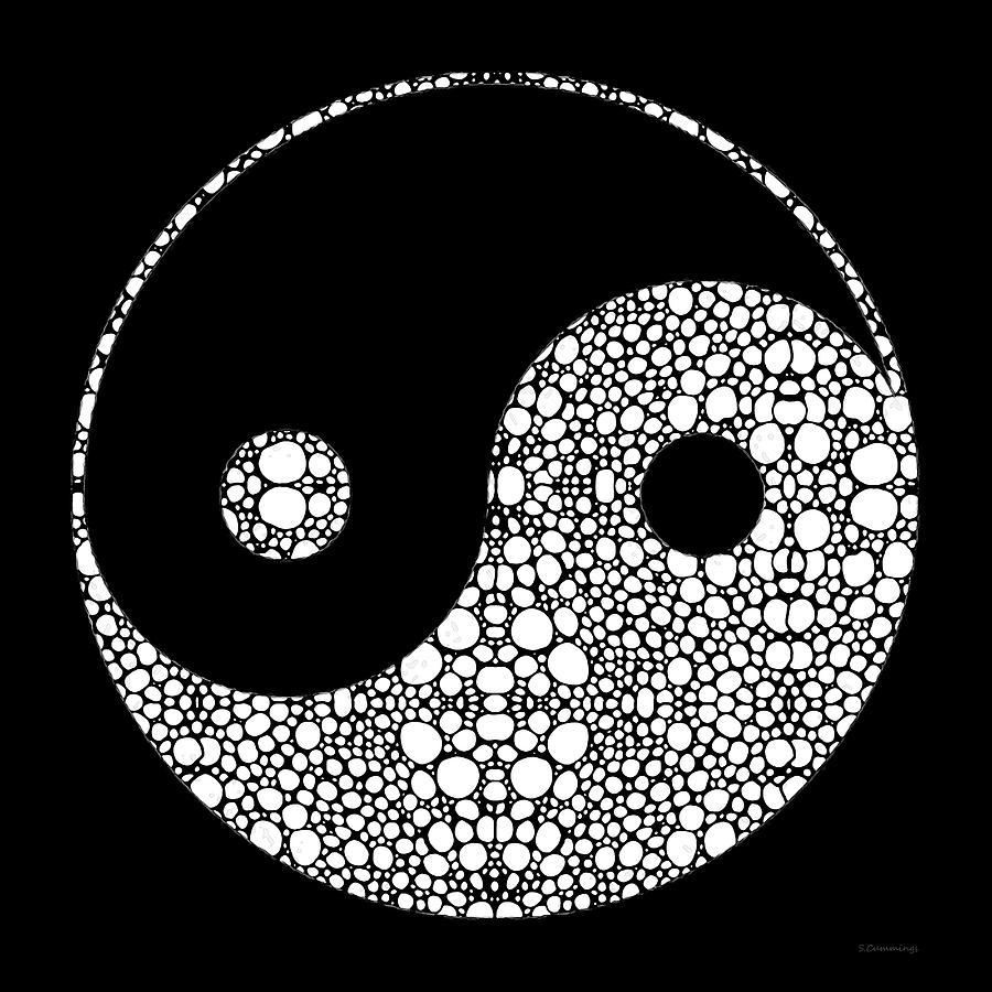 Yin Painting - Perfect Balance 2 - Yin and Yang Stone Rockd Art by Sharon Cummings by Sharon Cummings