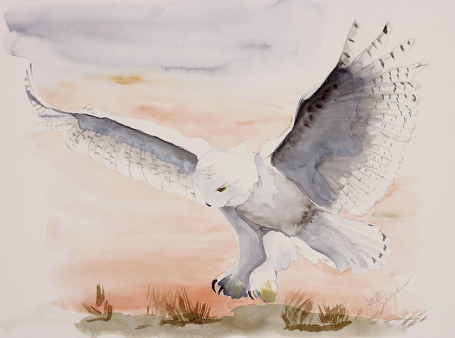 Owl Painting - Perfect Landing by Joette Snyder