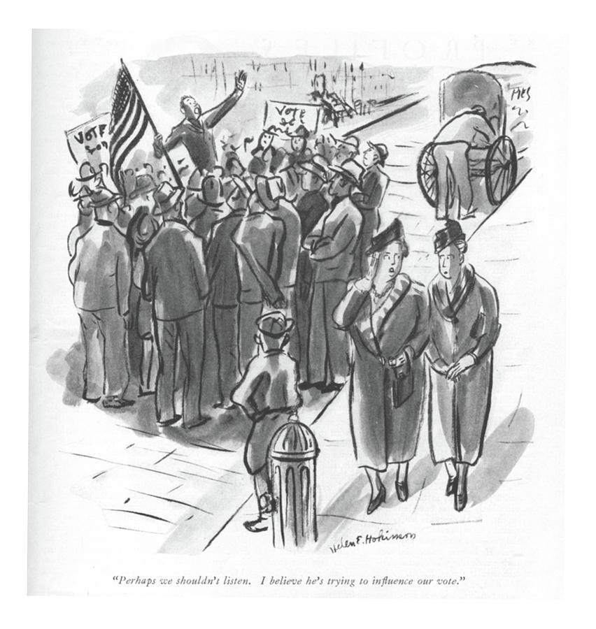 Perhaps We Shouldnt Listen Drawing by Helen E Hokinson