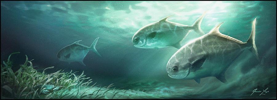 Fish Digital Art - Permit Prowl by Javier Lazo