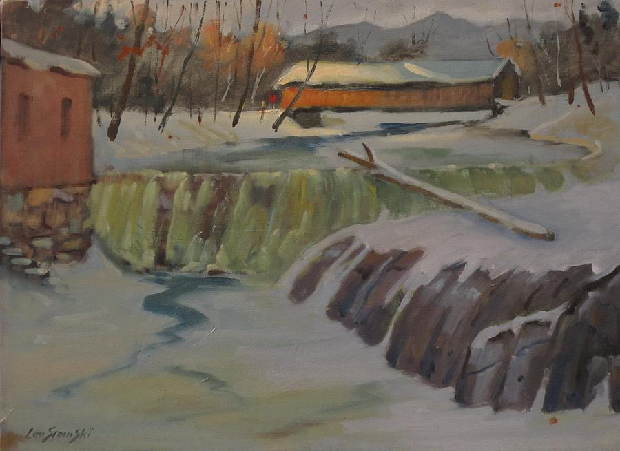 Snow Painting - Perrines Covered Bridge by Len Stomski