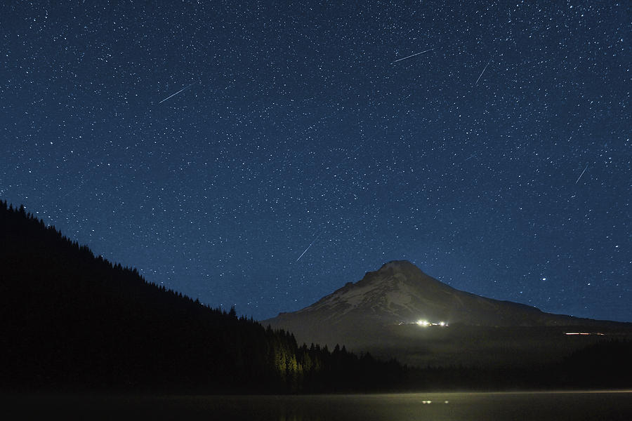 Perseid Photograph - Perseid Meteor Shower At Trillium Lake 2013 by David Gn