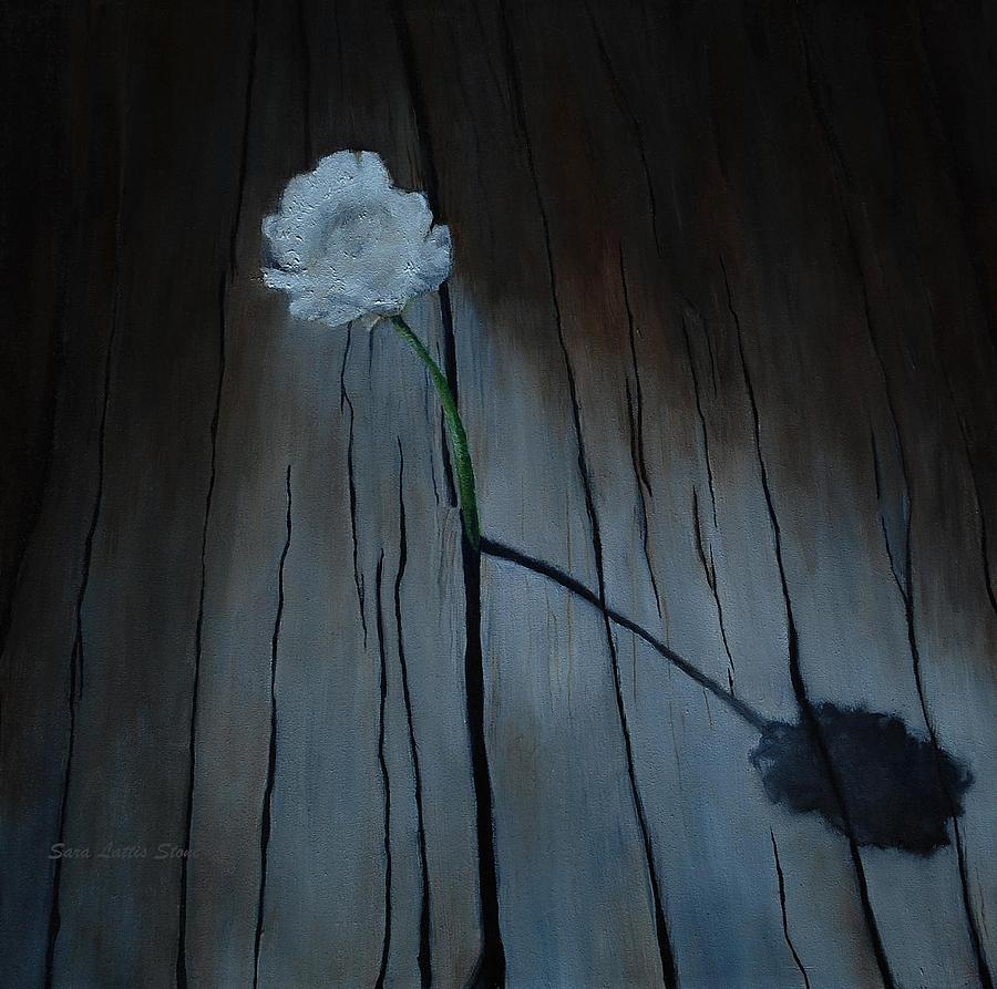 White Flower Painting - Perseverance by Sara Lattis Stone