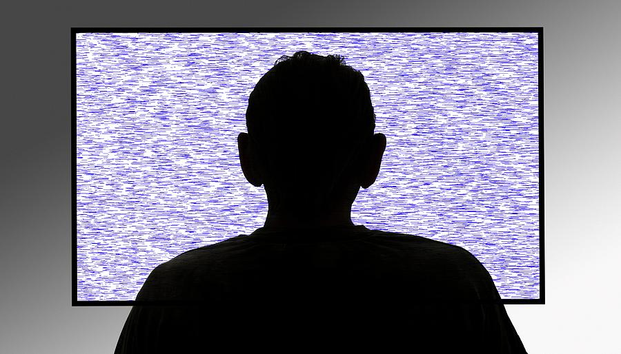 Nobody Photograph - Person In Front Of Flickering Tv Screen by Victor De Schwanberg/science Photo Library