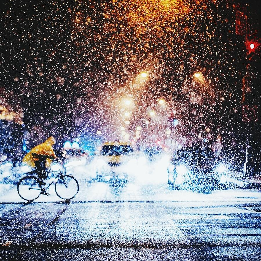 Person Riding Bicycle In Snowfall Photograph by Maclerin Mines / Eyeem