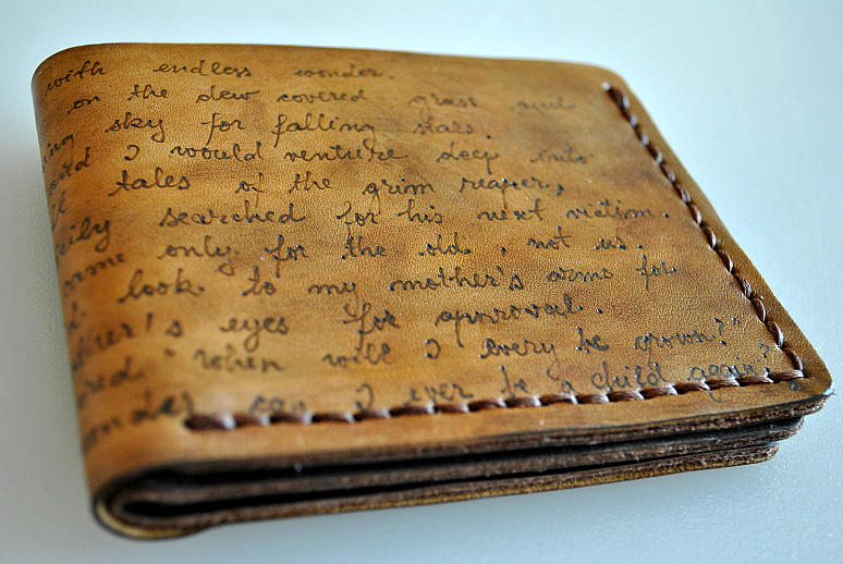 Personalized Custom Men S Leather Wallet Pyrography By