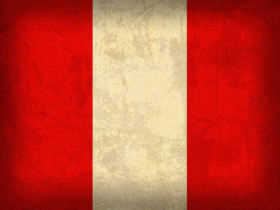 Peru Flag Vintage Distressed Finish Mixed Media By Design