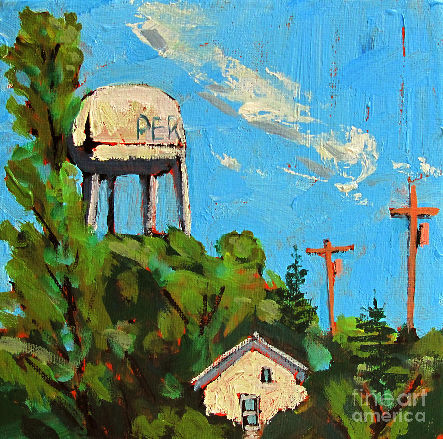 Landscape Painting - Peru Water Tower On 9th by Charlie Spear