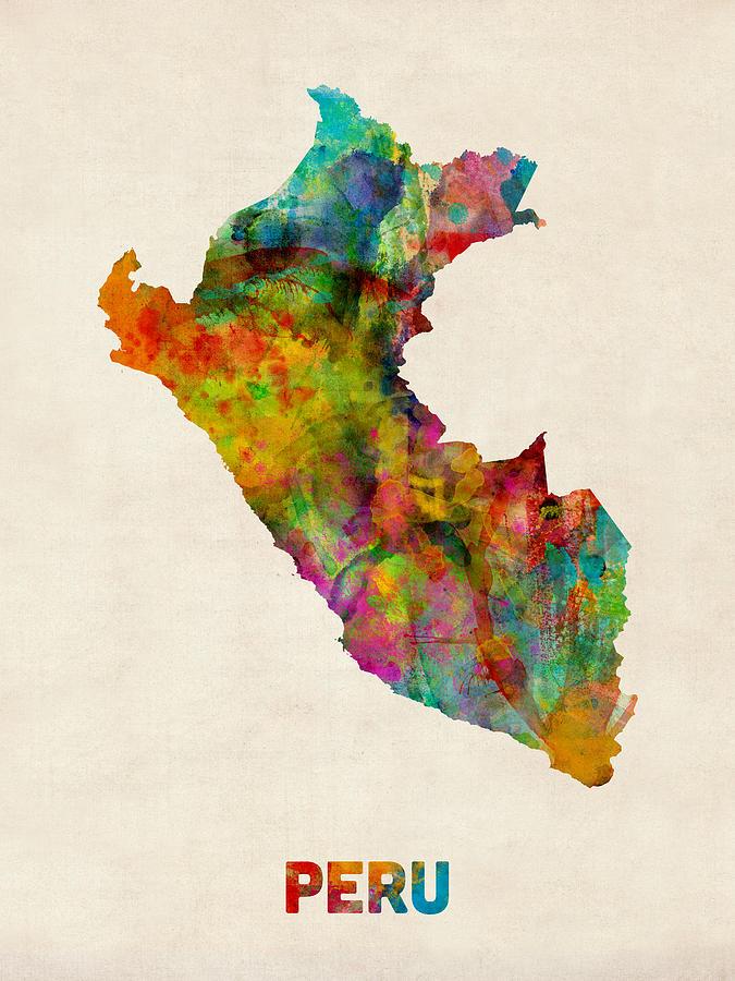 peru watercolor map digital art by michael tompsett