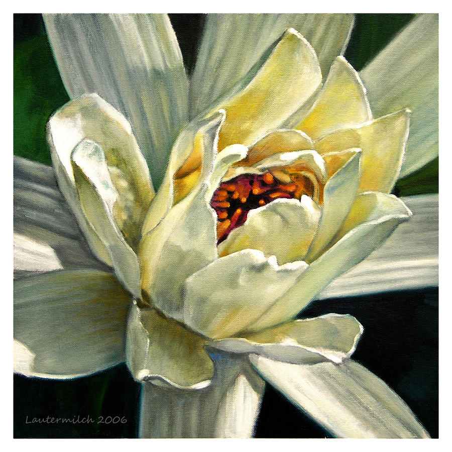 Water Lily Painting - Petals Of Ivory by John Lautermilch