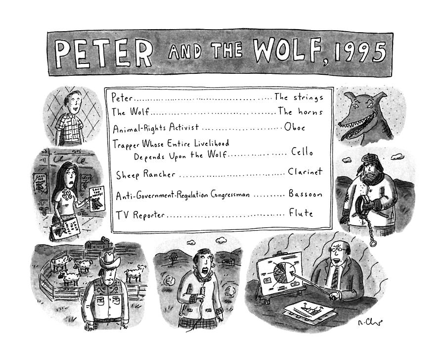 Peter And The Wolf Drawing by Roz Chast