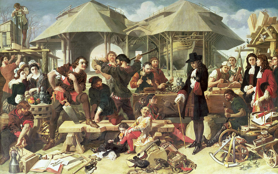 Ship Building Painting - Peter I, The Great At Deptford by Daniel Maclise